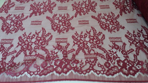 burgundy Lace Fabric, Lace, Chantilly Lace, Alencon lace, Lingerie Lace,Lace Fabric,Lace,Embroidery lace