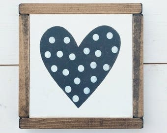 Polka Dot Heart, Love, Mother's Day Gift, Kids Room, Gallery Wall Decor
