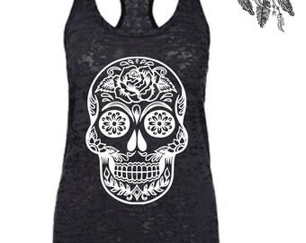 Sugar Skull Tank Top, Skull Tank, Day of the Dead Tank Top, Sugar Skull Shirt, Rose Sugar Skull, Floral Skull Top, Skull Top for Women
