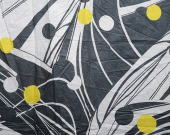 Gray and Yellow Cotton Chintz Fabric by the Yard or Meter