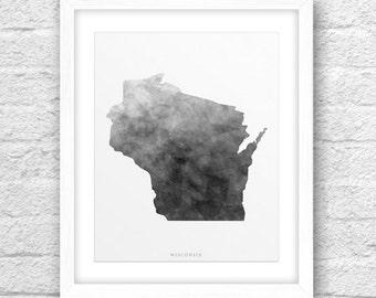 Wisconsin Map, Wisconsin Print, Wisconsin Art, Wisconsin State, Wisconsin Minimal Design, Wisconsin Printable, Wisconsin Watercolor, 8x10