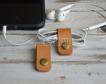 FREE SHIPPING - Set of Two Camel Leather Cord Organizers - Cord Keepers