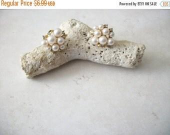 ON SALE Vintage MARVELLA Gold Tone Faux Pearls Rhinestones Cluster Earrings 112916