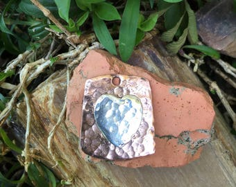 Heart .999 Fine Silver and Copper Pendant