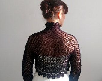 Black bolero shrug, lacy bolero, short cardigan, long sleeve bolero, wedding shrug, bridal shrug bolero, fast shipping, READY TO SHİP.