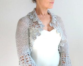 Crochet bolero shrug, gray bolero, bridal jacket, wedding cardigan, silver gray bolero, lace shrug, 3/4 sleeves bolero, fast shipping