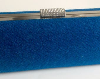 Teal clutch bag - Teal evening bag - Blue clutch bag - Blue evening bag - Harris Tweed clutch bag - Harris Tweed evening bag