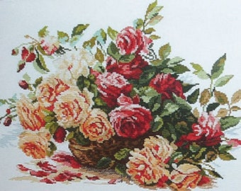 Cross Stitch Kit by Alisa - Basket with roses ; Wall decor; Flowers cross stitch; Roses embroidery