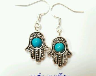 Hamsa hand earrings, protection jewelry, hamsa hand jewelry, turquoise jewelry, turquoise earrings, silver hamsa hand
