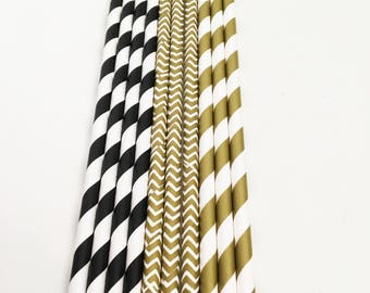 Paper party straws, Black and Gold, Engagement, graduation, stag party, bachelor party, Hen Do, party decorations, Gold Theme Decor