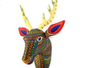 DEER HEAD Wall Mount Oaxacan Alebrije Wood Carving Handcrafted Mexican Folk Art Animal Sculpture Painting
