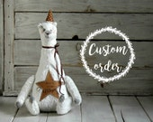 Custom order - Teddy Bear White - Believe Collection - Artist Handmade Textile Toys - Stuffed Toys - 8,5 Inch