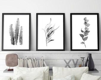 Set of 3 Prints, Printable Art, Set of 3, Black and White, Botanical Prints, Print Set, Black White, Botanical, Wall Art, Posters, Prints