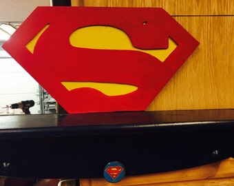 Superman  - super hero decor - kids room shelf - boys room decor - man cave - dc - kids birthday - batman shelf - wall shelf - birthday