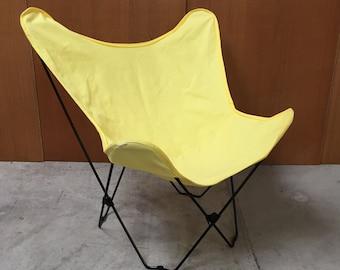 Danish mid-century Batchair in yellow canvas