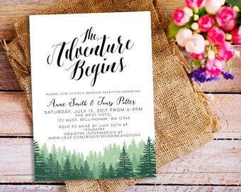 adventure wedding invitation, Our Greatest Adventure Wedding Invitation, Pinetree Wedding Invite, minimalist wedding, greenery invitation