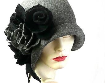 Gray Felt Hat, Felted Hat, Cloche Hat, 1920 Hat ,Art Hat, Gray Hat, Cloche, Victorian Hat,1920's Hat, Wool Hat,Women's hat,Gatsby Hat