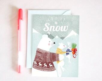 "Christmas card ""LET IT SNOW"" 10 x 15 cm and envelope - illustration for children's room"