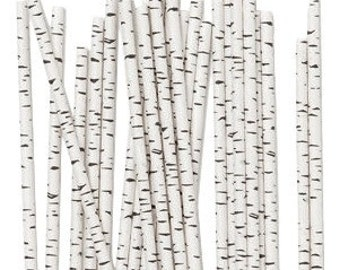 Birch Paper Straws, Tree Straws, Birch Tree Theme, Birch Straws, Wedding Buffet Straws, Nature Theme, Wedding, Party Straws, Birch, 10