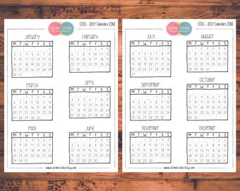 2017 Calendar Planner Stickers, Doodle Planner Stickers, Mini Calendars (C051)