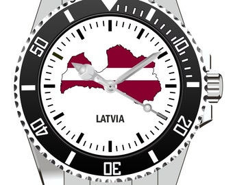 Latvia Latvia country outline clock - watch 1120