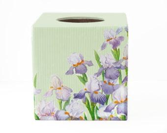 Tissue box cover Irises decor tissue box holder Purple tissue box Green tissue box Napkin holder Kleenex cover Tissue box wood Tissue holder