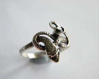 unusual vintage ring SNAKE  sterling silver 925 finger size M  ~ inA2254