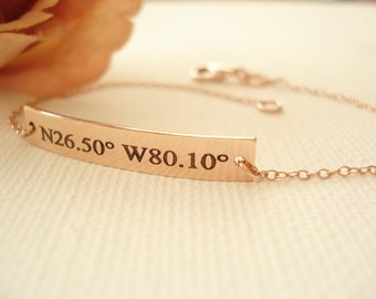 14 kt. Rose Gold filled Personalized Bar Bracelet...engraved name plate Rose gold bar jewelry, Sorority gift, monogram, bridesmaid gift