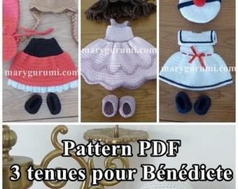 Crochet Pattern, pattern, tutorial, Amigurumi, dolls, 3 outfits for dolls Bénédicte (10 Pack)