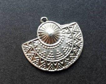 Antique Silver Plated Zamak Pendant, Aztec Design Pendant, Matte Silver Plated Pendant, Ethnic Semi Circle Pendant, Earrings Supplies