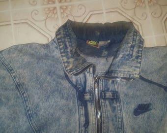 Nike vintage acid washed denim jacket