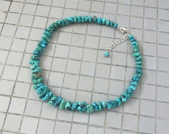Genuine Turquoise Necklace, Knotted Natural Blue Green Chinese Turquoise Rough Nugget Beaded Necklace, Hubei Turquoise Beaded Necklace