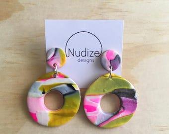 "Handmade statement dangle earrings // gifts for her // ""Funky fresh II"""