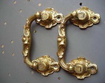 Pair of Bronze Commode Handles