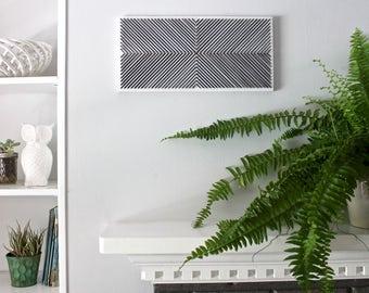Geometric wall hanging, modern wall art, black and white wall art, 3Dwall art, living room wall art, bedroom wall art, unique wall art, gift