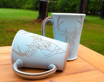 Low Poly Geometric Deer Mug. 8 oz mug. Coffee Mug. Turquoise Mug. Handmade mug.