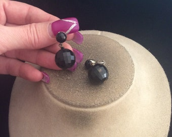Vintage Signed Dalsheim Dangling Black Ball Clip Earrings