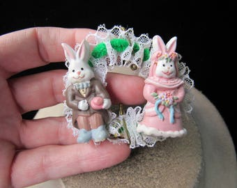 Vintage Easter Hand Made Mr & Mrs Wedding Bunnies Beaded Pin