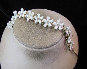 Vintage White Stone Petaled Clear Rhinestone Floral Bracelet