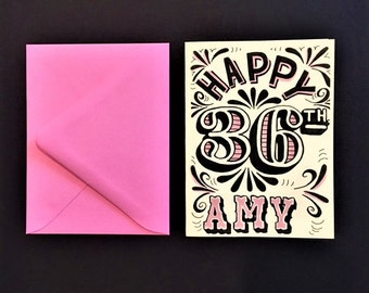pink and black hand lettered customized happy birthday card