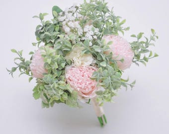 Choose ribbon color Silk Peony Wedding Bouquet,Lamb's Ear Eucalyptus Pastel Bridal Bouquets Herb Bouquet