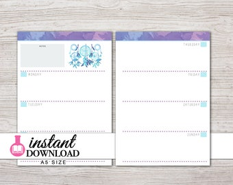 A5 Planner Printable - Weekly Inserts - Undated - Filofax A5 - Kikki K Large - Design:  Chasing Dreams