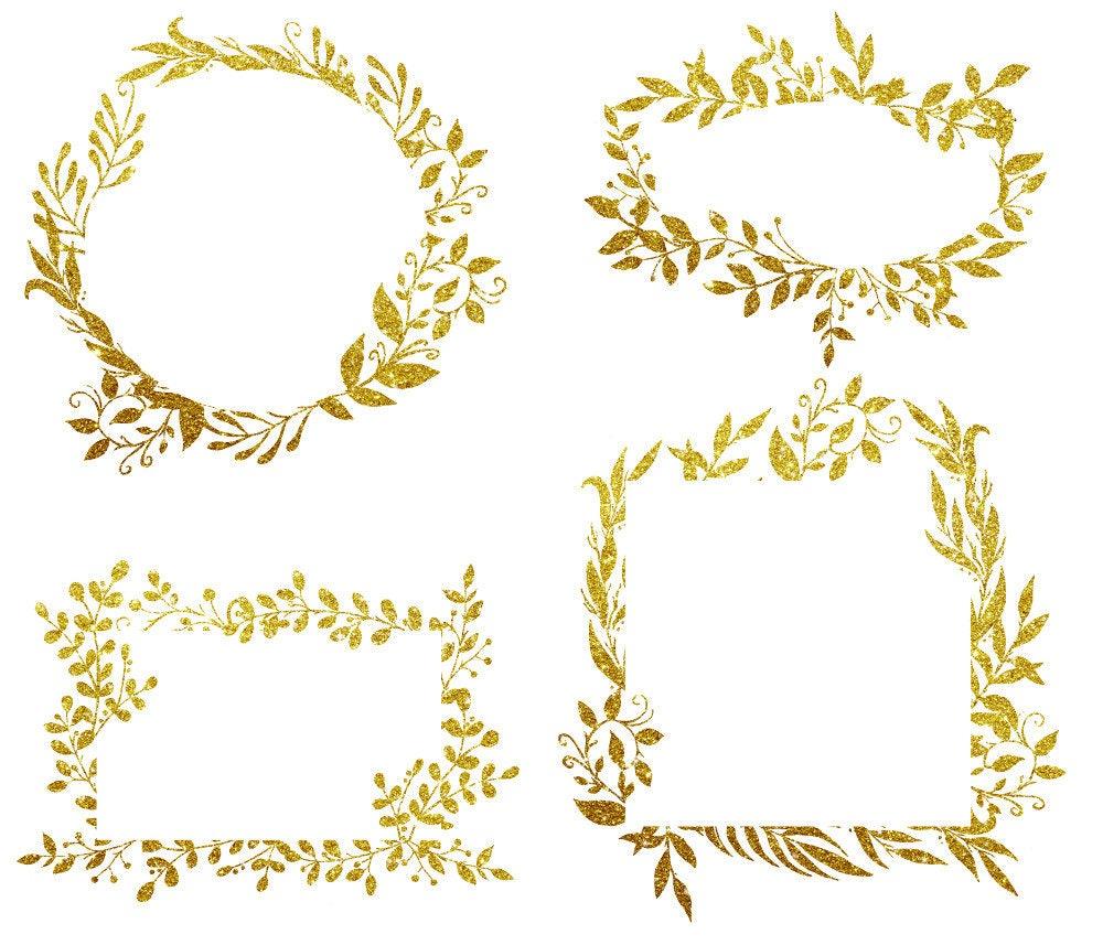 Buy 3 For 9 Usd Gold Glitter Leaves Frames Digital