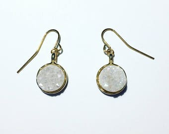 Druzy stony earring in gold - black or white / clear