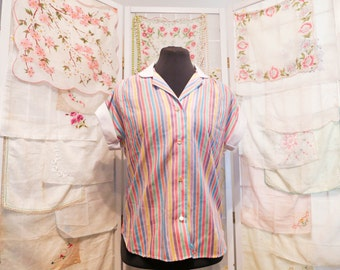 Vintage Lady Holiday Shirt with Pastel Stripes – So Kawaii Decora Fairy Kei