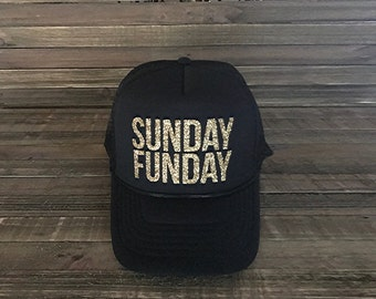 Sunday Funday, BlackTrucker Hats, Trucker Hats, Glitter Hats, Black Women's Hats, Women's Caps, Graphic Hats, Graphic Caps