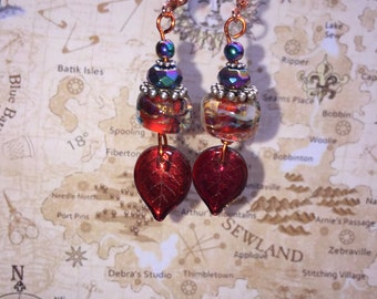 Red Hot lampwork and  copper earrings