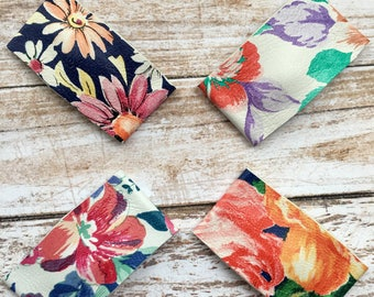 Floral patterned snap clips, flower snap clips, flower hair clips, leather hair clips, leather clips, baby hair clip