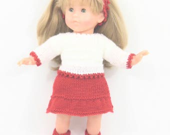 Red and white doll jacket and skirt set