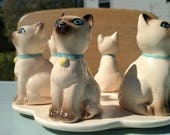 Siamese cat candle holder with 6 cats